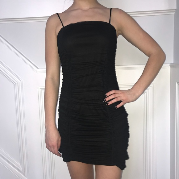 18598fd8d8e Urban Outfitters Ruched Mesh Bodycon Mini Dress